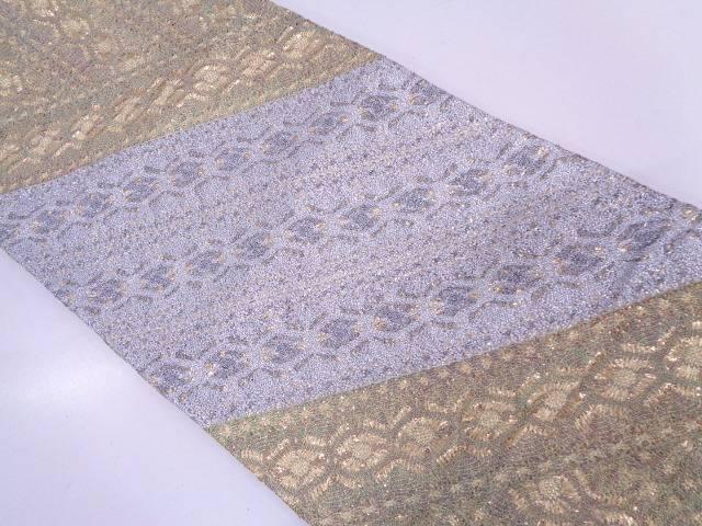 変わり織斜め縞に抽象模様袋帯【リサイクル】【中古】