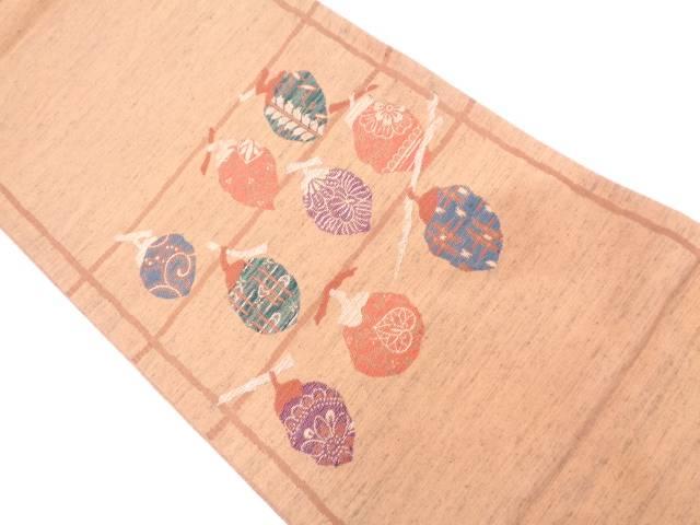 干柿模様織出し袋帯【リサイクル】【中古】