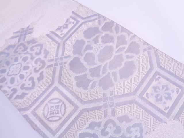 綴れ蜀江文に牡丹模様織出し袋帯【リサイクル】【中古】