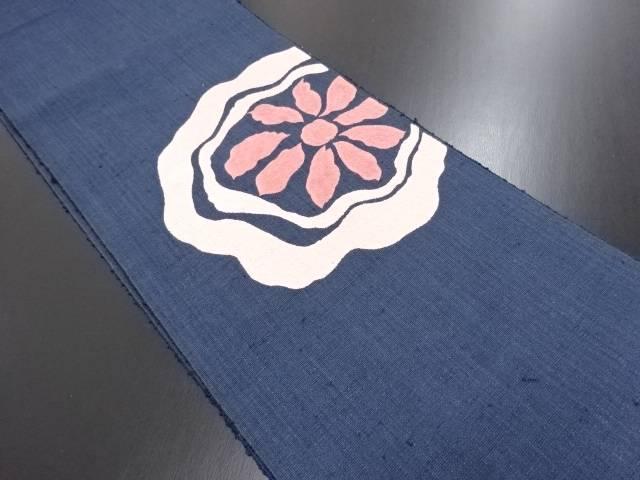 本場結城紬花模様刺繍名古屋帯(結)【リサイクル】【中古】