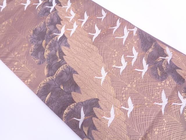 河崎織物製 樹木風景に群鶴模様織出し袋帯【リサイクル】【中古】