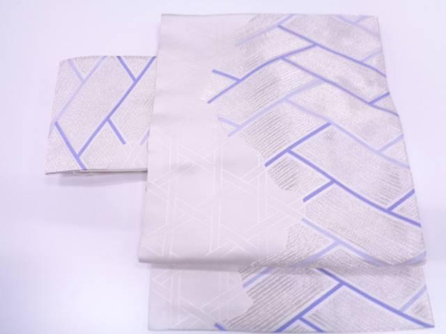 檜垣に籠目模様織出し作り帯 【リサイクル】【中古】