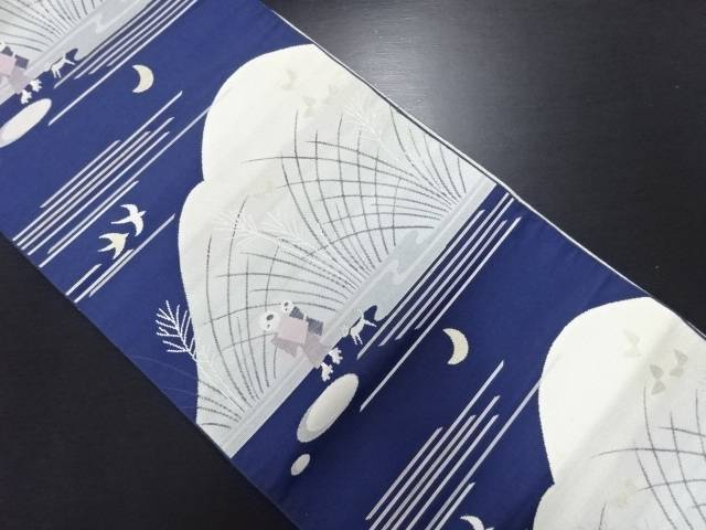 本場筑前博多時代人物に犬・三日月模様織り出し名古屋帯【リサイクル】【中古】