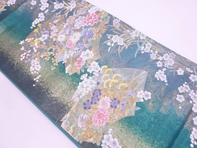 引箔花扇の舞模様織出し袋帯【リサイクル】【中古】