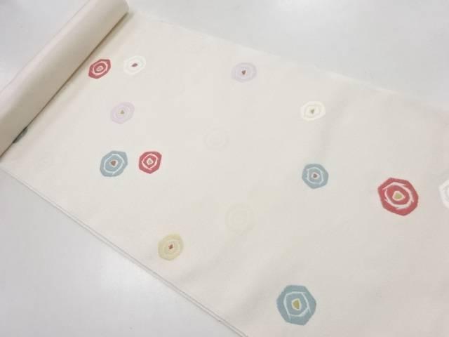 京都イシハラ製 抽象花模様織り出し名古屋帯地反物【新品】