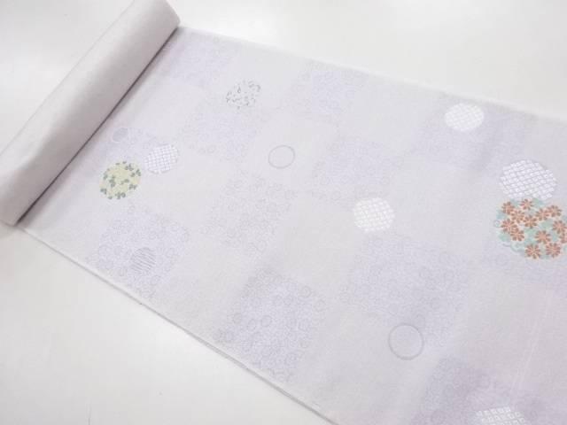 京都イシハラ製 市松に花丸模様織り出し名古屋帯地反物【新品】