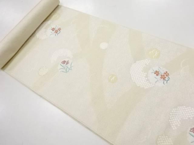 京都イシハラ製 雪輪に疋田花模様織り出し名古屋帯地反物【新品】