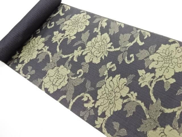 京都イシハラ製 牡丹唐草模様織り出し名古屋帯地反物【新品】