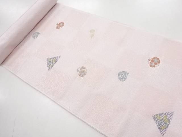 京都イシハラ製 市松に鱗・花模様織り出し名古屋帯地反物【新品】