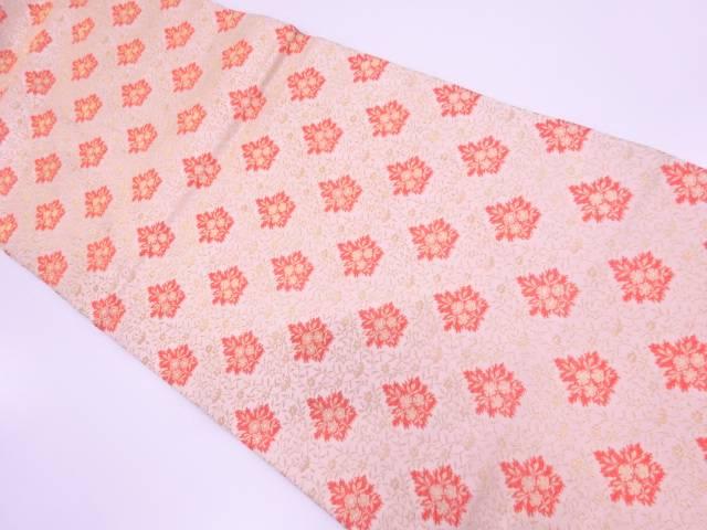 龍村美術織物製 草花模様織出し開き名古屋帯(額縁仕立て)【リサイクル】【中古】