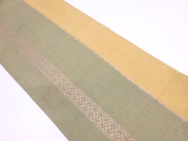 手織り真綿縞に抽象模様織出し名古屋帯【リサイクル】【中古】