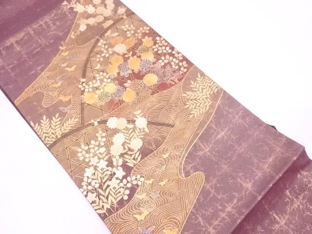 金彩光悦垣に草花・蝶模様袋帯【リサイクル】【中古】