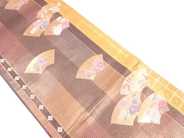 地紙に鶴・草花模様織出し袋帯【リサイクル】【中古】