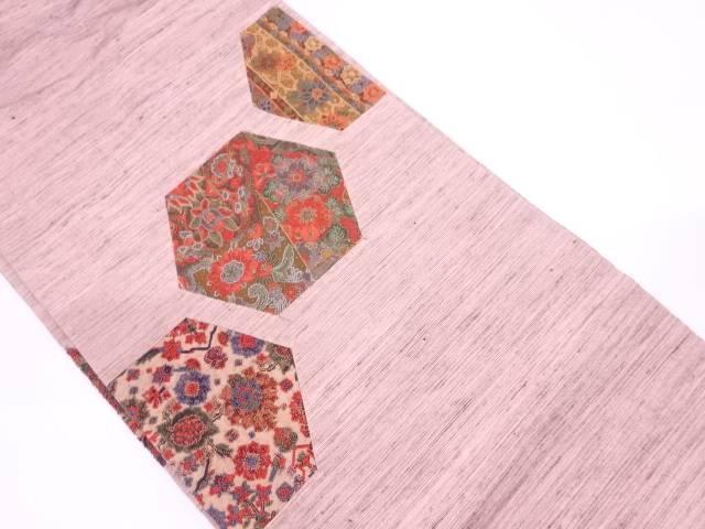 手織り紬切りばめ相良刺繍亀甲に草花模様名古屋帯【リサイクル】【中古】