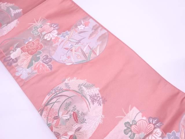 色紙に草花模様織出し袋帯【リサイクル】【中古】