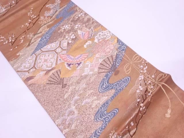 扇に草花・蝶模様織出し袋帯【リサイクル】【中古】