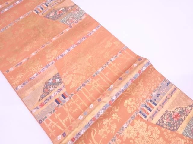 竹笹に蝶・草花模様織出し袋帯【リサイクル】【中古】