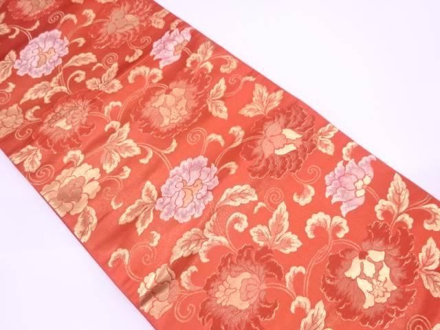 牡丹唐草模様織出し袋帯【リサイクル】【中古】