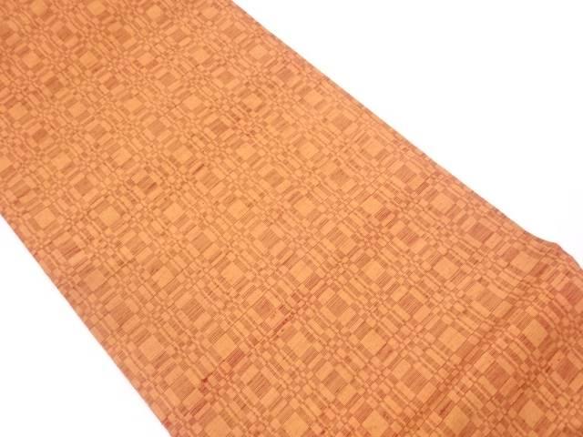 未使用品 手織り紬変わり格子模様織出し名古屋帯【リサイクル】【中古】