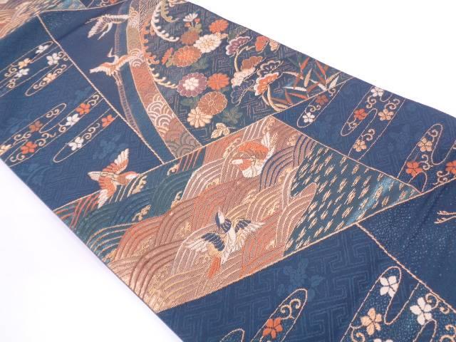 ヱ霞に花鳥模様織出し袋帯【リサイクル】【中古】