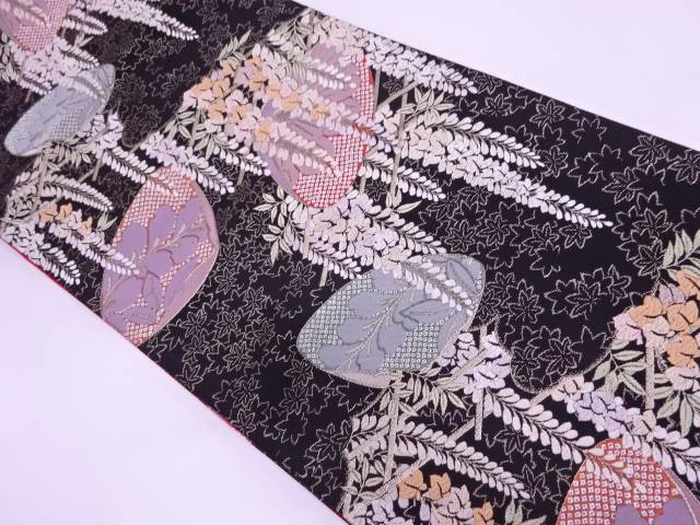 貝島はるみ 貝合せに藤模様織出し袋帯【リサイクル】【中古】