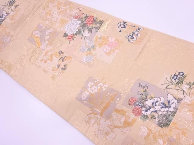色紙に花鳥模様織出し袋帯【リサイクル】【中古】