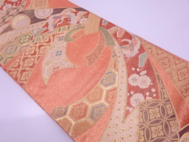 鶴に松・梅模様織出し袋帯【リサイクル】【中古】