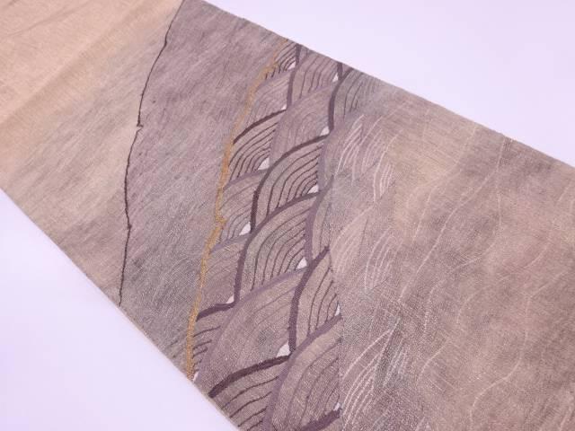 すくい織波模様織出し袋帯【リサイクル】【中古】