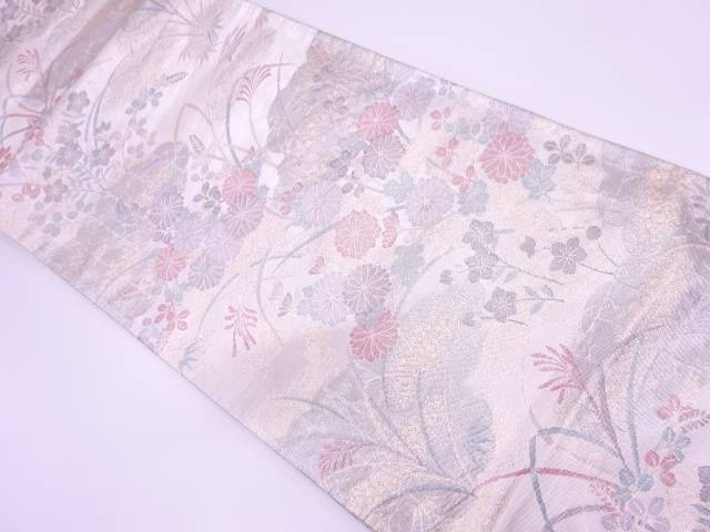プラチナ箔雲取りに草花模様織出し袋帯【リサイクル】【中古】