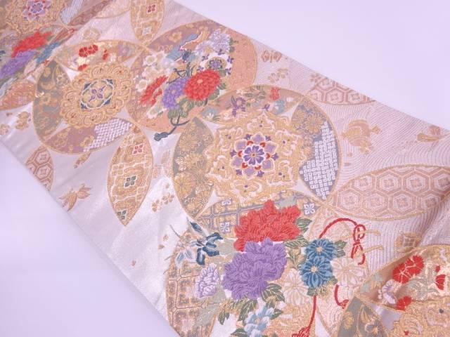 七宝繋ぎに花車模様織出し袋帯【リサイクル】【中古】