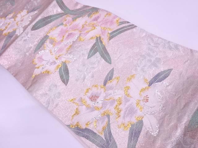 カトレア模様織出し袋帯【リサイクル】【中古】