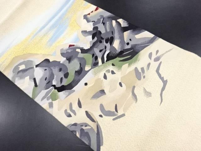 本爪綴れ岩礁模様織り出し名古屋帯【リサイクル】【中古】