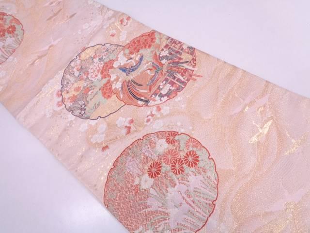 未使用品 本金箔 九百錦雪輪に花鳥模様織出し袋帯【リサイクル】【中古】