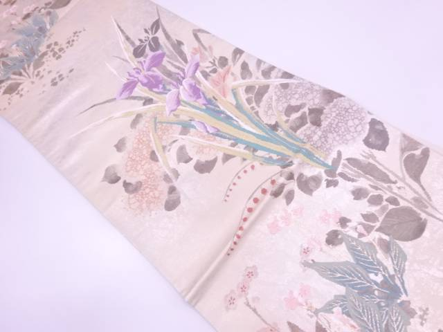 菖蒲に紫陽花模様織出し袋帯【リサイクル】【中古】
