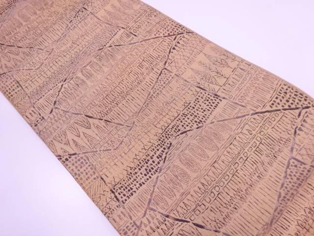 切嵌風樹木に抽象模様織出し袋帯【リサイクル】【中古】