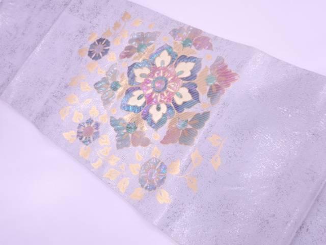 引箔螺鈿草花模様袋帯【リサイクル】【中古】