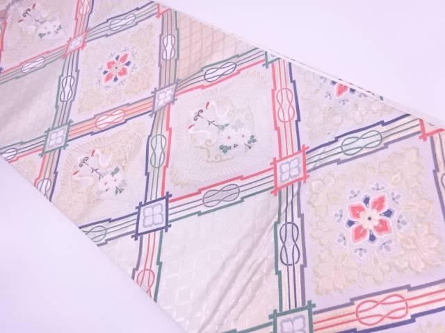 未使用品 となみ織物製襷に向かい鶴・草花模様織出し袋帯(未仕立て)【リサイクル】【中古】