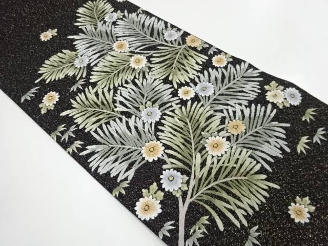 金通し手刺繍松・笹・菊模様袋帯【リサイクル】【中古】