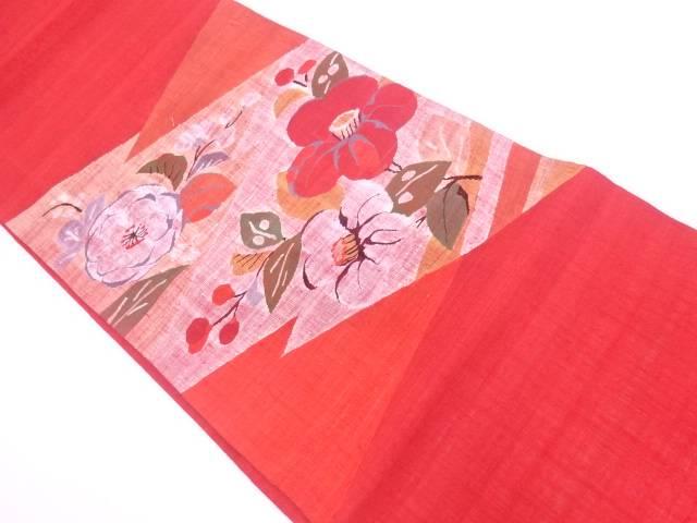 すくい織手織り紬椿に花模様織出し袋帯【リサイクル】【中古】