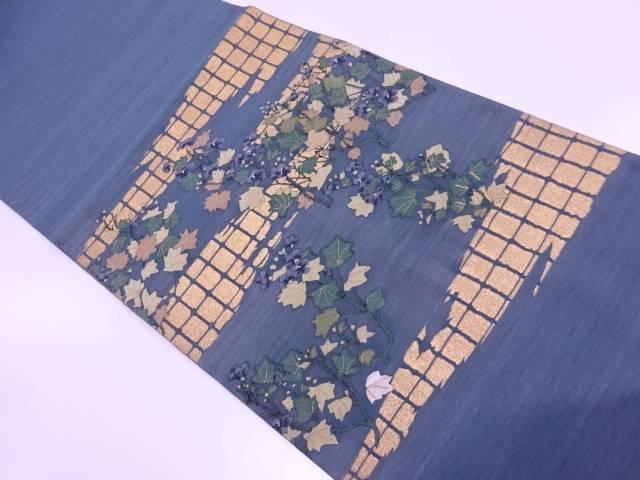 明綴れ霞に草花模様織出し袋帯【リサイクル】【中古】