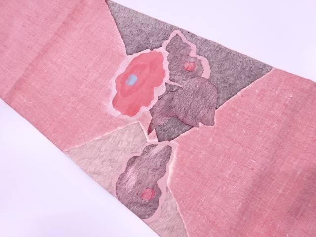 手織り真綿紬すくい織草花模様織出し袋帯【リサイクル】【中古】