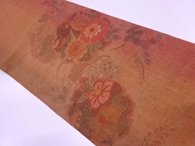手織り紬汕頭相良刺繍雪輪に草花模様袋帯【リサイクル】【中古】