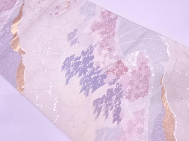 巻絵に寺院風景模様織出し袋帯【リサイクル】【中古】