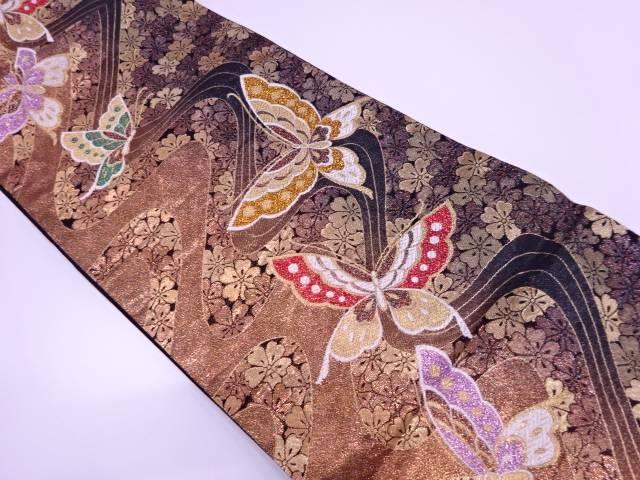 蝶に桜模様織出し振袖用袋帯【リサイクル】【中古】