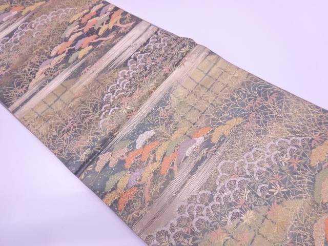 服部織物製 琥珀錦松笹に霞模様織出し袋帯【リサイクル】【中古】