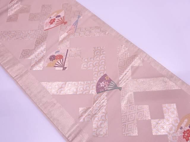紗綾形に扇模様織出し袋帯【リサイクル】【中古】