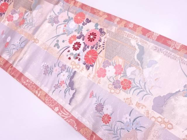 檜垣に秋草模様織出し袋帯【リサイクル】【中古】