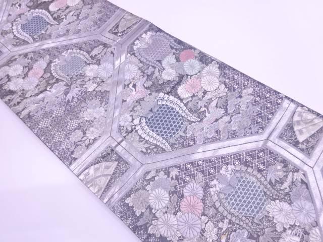 鶴に草花模様織出し袋帯【リサイクル】【中古】