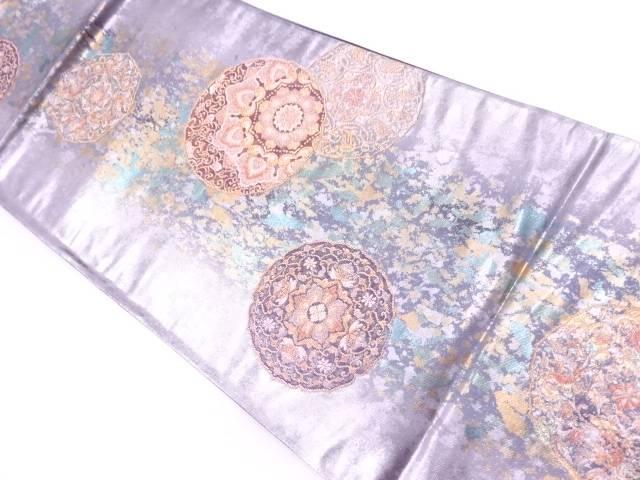 引箔華紋模様織出し袋帯【リサイクル】【中古】