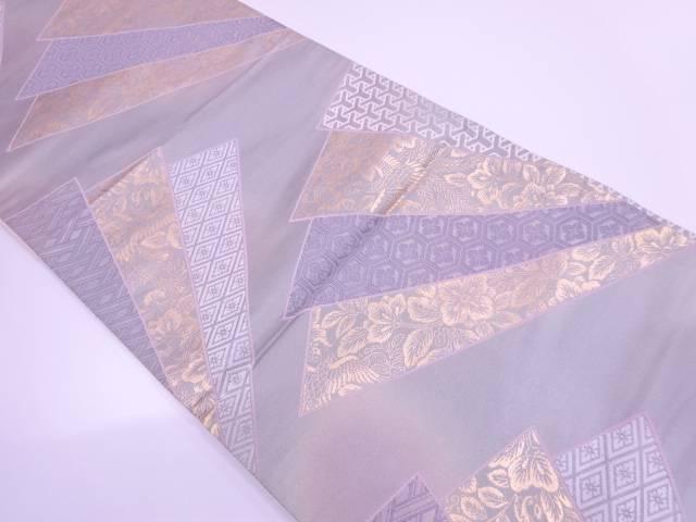 檜扇に花鳥・古典柄模様織出し袋帯【リサイクル】【中古】